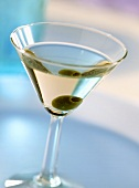 Martini Dry cocktail (drink with gin, Vermouth Dry & olive)