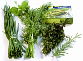 Still life with bunches of herbs and frozen herbs