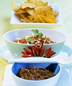 Mexican chocolate sauce and sweet chili sauce