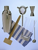 Bar utensils: shaker, ice-crusher, bar sieve, mixing glass etc.