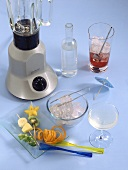 Bar utensils: blender, sugar syrup, mixing glass, ice, fruit