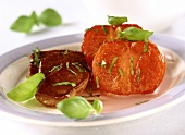 Lamb steaks with tomatoes & red wine sauce (food combining)