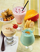 Maracuja & nut-, melon & Campari- and banana & Curacao shake