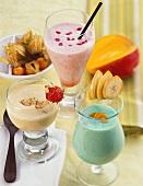 Maracuja & nut-, melon & Campari- and banana & Curacao shake