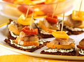 Matjes herring, soft cheese and apple on pumpernickel