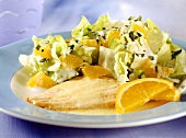Plaice fillets with orange sauce & salad (food combining)