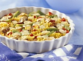 Rice gratin with vegetables and mushrooms (food combining)