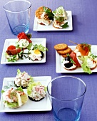 Rolls & crackers with colourful toppings for party or buffet