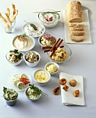 Several different sandwich spreads for party or buffet