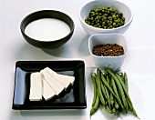 Tofu, pulses and milk (for protein)