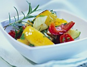 Peppers and vegetables with rosemary