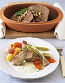 Medallions with artichokes; braised pickled beef with pine nuts