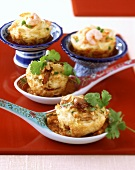 Thai rice timbale and Chines noodle muffins