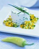 Herb timbale with vegetable tartare