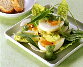 Frankfurter salad with egg and green sauce