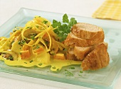 Turkey breast fillet in curry sauce with vegetables