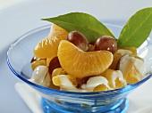 Mandarin and grape salad with quark mousse