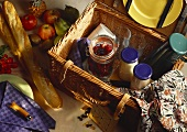 Picnic basket with provisions
