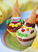 Ice cream clown muffins