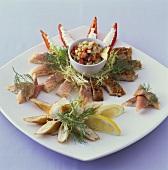 Smoked fish platter and mackerel tartare