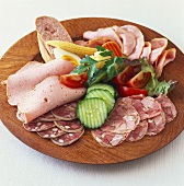 Rustic sausage platter for buffet