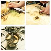 Making deep-fried chick-pea pasties