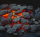 Glowing barbecue charcoal