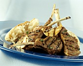 Barbecued lamb chops with garlic and thyme oil