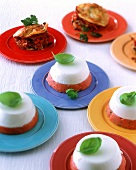 Tomato & sheep cheese mousse & vegetable lasagne, party buffet