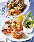 Barbecued jumbo prawns and prawn and courgette kebabs