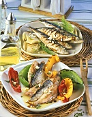 Sarde alla griglia (barbecued sardines and vegetables)