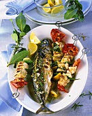 Barbecued mackerel with herbs and swordfish kebabs