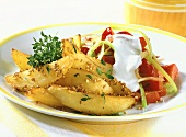 Roast potato wedges with sesame and peppers and leeks