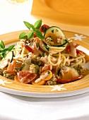 Spaghetti alla ragusana (Spaghetti with mince & vegetable sauce)