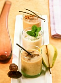 Pear and date, orange and mint and sea buckthorn milkshakes