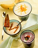 Hot milk drinks: berry, banana and cinnamon and orange