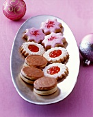 Biscuits: nougat cookies, jam biscuits, raspberry stars