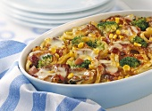 Macaroni and broccoli bake with ham and sweetcorn
