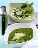 Green fennel soup (front), root vegetable & herb soup (behind)