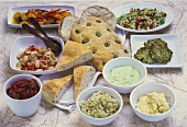 Mediterranean buffet with olive bread, antipasti and spreads