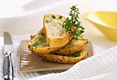 Toasted bread with herb butter