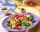 Tandoori chicken with fried vegetables