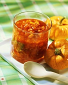 Hot pumpkin chutney in jar