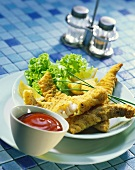 Fish finger with ketchup, USA