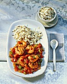 Shrimps with peppers, tomatoes and wild rice (seafood gumbo)