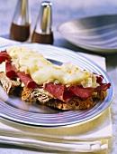 Reuben sandwich with pastrami, cheese and sauerkraut
