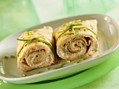 Soft cheese crepes with chives