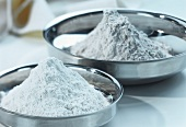 Wheat flour in metal bowls