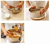 Making cream gateau with mandarins