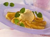 Fried apple wedges with cinnamon sugar & vanilla ice cream